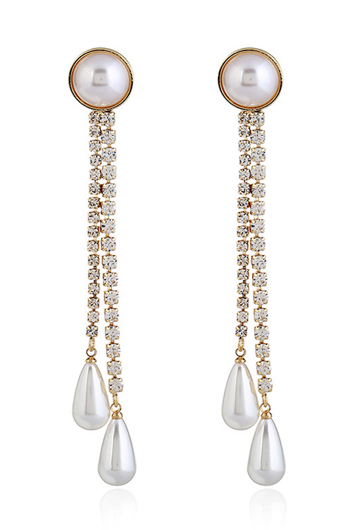 블랙피치,Long Crystal Pearl Drop Earrings